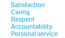 Satisfaction, Caring, Respect, Accountability, Personal service